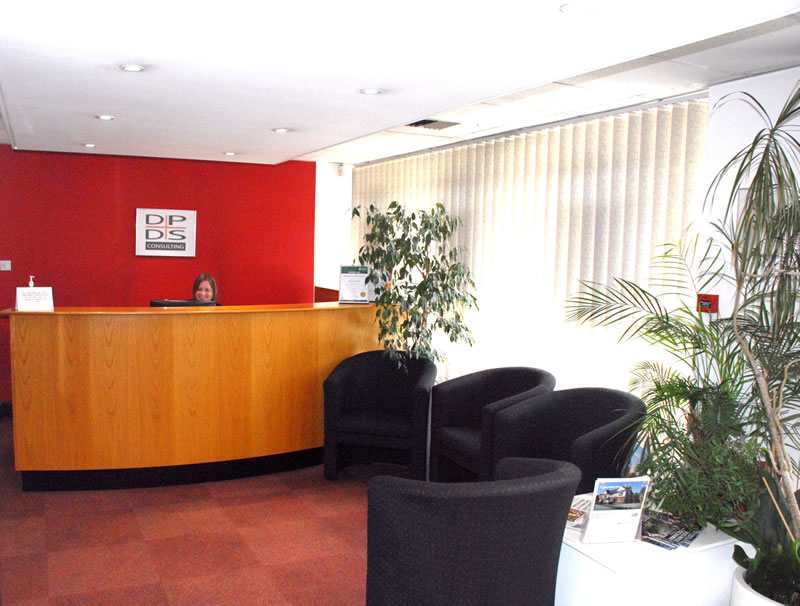 Reception area of DPDS, Services Offices to Let