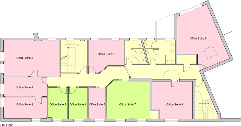 Plan of office space to rent, Old Town, First Floor