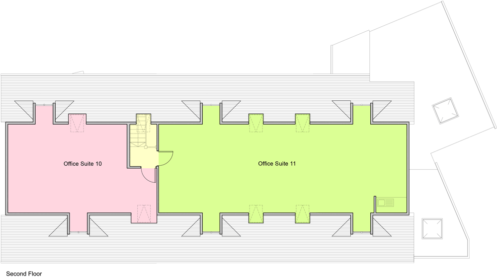 Plan of office space to let Old Town, Swindon. Top floor